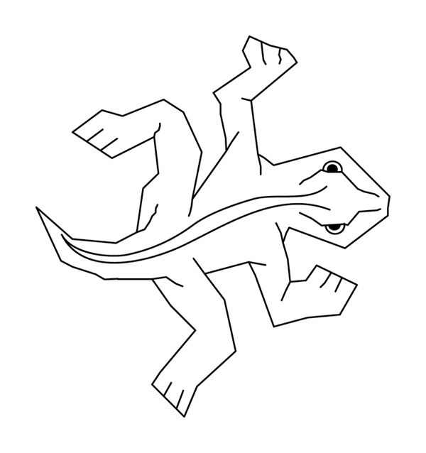Simple black-on-white line art of Escher's famous lizard tesselation, from my own vector redrawing.