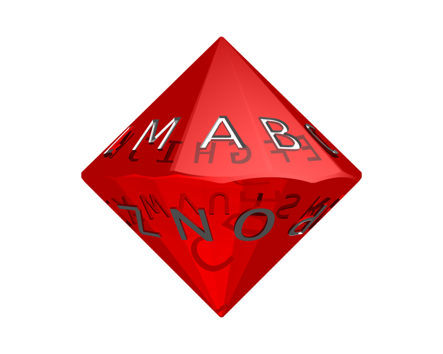 Raytraced image of my alphabet die concept, in translucent red with white letters.