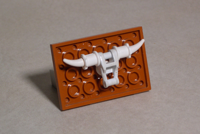 LEGO Longhorn logo, right front view.
