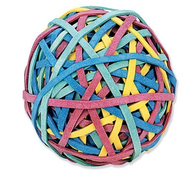 A close-up image of the multicolored rubber band ball sold by Office Depot.