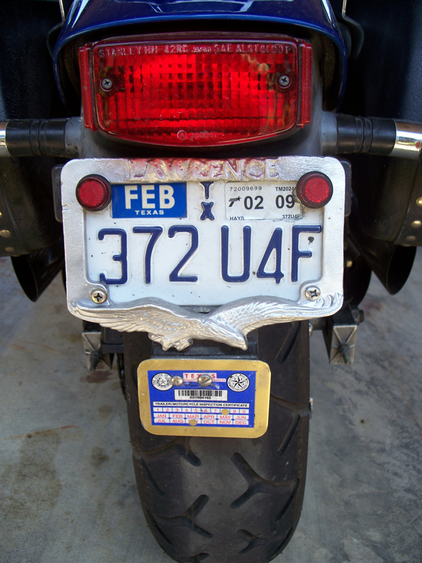 2008 04 20 personalized motorcycle license plate frame casting - Motorcycle License Plate Frames