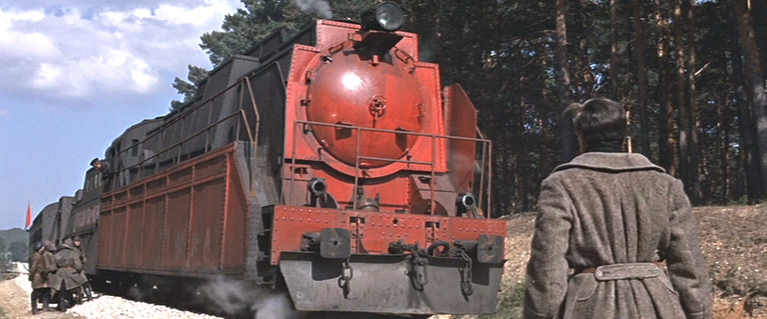 Iconic front right worm's eye view of Strelnikov's train.